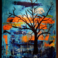 Midnight's Path- an original abstract acrylic painting, large canvas art, modern art, urban art, tree art, blue and orange, abstract art
