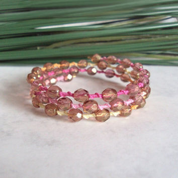 Memory Wire Bracelet - Multicoloured Lace Bracelet - Beaded Tatting - Multi Wrap - Boho Chic - Pink Orange Yellow - Maia