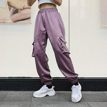 Women Simple Fashion Solid Color Satin Leisure Pants Trousers High Waist Sweatpants