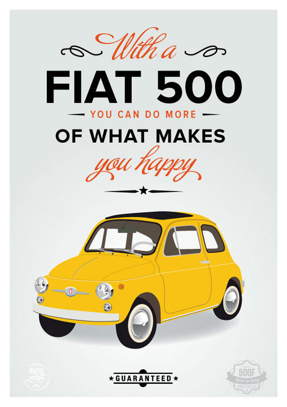 Fiat 500 Poster Italian Art Print From Shuffleprints On Etsy