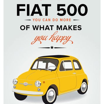 Fiat 500 poster - italian art print poster - italy . vintage italy classic car - retro yellow - art print - italian poster - affiche
