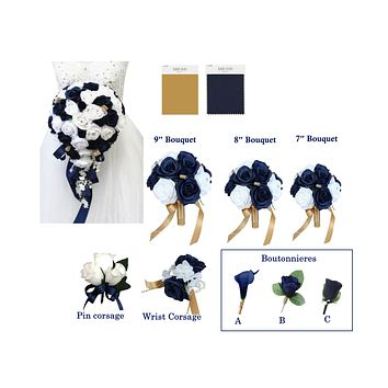 Navy Blue and White Roses with Gold Accents - Pick Your Flowers!