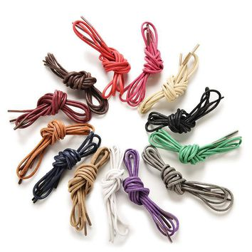 Top Quality Casual Leather Shoes Shoelace Candy Multi Solid Color Cotton Nylon Waxed Round Shoe Laces Strings   Hot