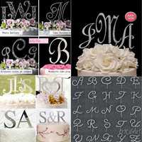 Alphabet Letter Rhinestone Crystal Monogram Wedding Cake Topper Decoration [7981682247]