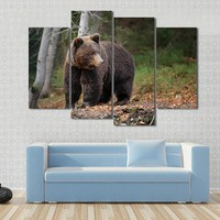 Big Brown Bear In The Forest Canvas