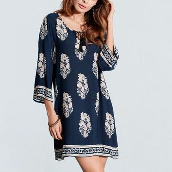 Women's Navy Blue with White Tropical Flowers 3/4 Sleeve Shift Dress with Front Tie