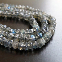Labradorite Gemstone Rondelle AAA Grey Blue Flash Faceted Beads 4mm 1/2 Strand 55 beads