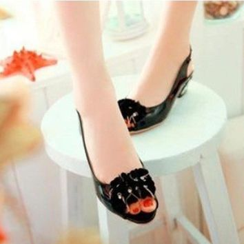 "(4-12) Low-margin sexy flowers Ladies 2"" peep toe Ankle-wrap soft leather wedges high heel sandals thin shoes in 5 colors"