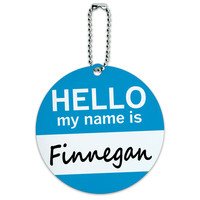Finnegan Hello My Name Is Round ID Card Luggage Tag
