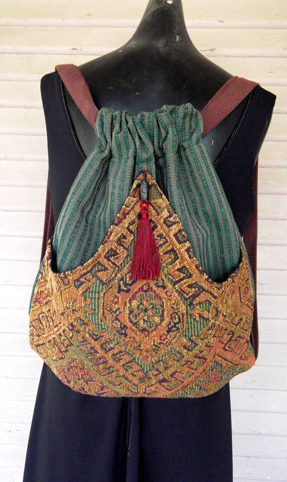 Backpack of Chenille Tapestry  Boho Backpack   by piperscrossing