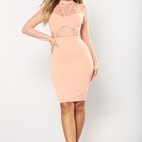 Crossed A Few Lines Dress - Blush