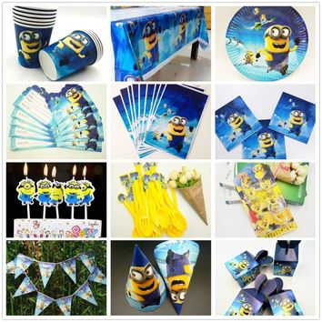 Minions Party Tableware Plate Napkins Candy Box Popcorn Box Banner Balloon Flags Birthday minions Party Decorations Supplies