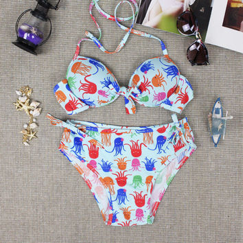 2016 Summer Womens Halter Cute Baby Octopus Bikini Unique Plant Push-Ups Swimwear Swimsuit Gift