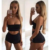 Pure Color Strapless Crop Top with Skinny Shorts Two Pieces Set