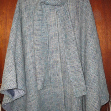 Womens Vintage Avoca Handweavers Cape Ireland Blue Wool Spring Cape Attached Scarf