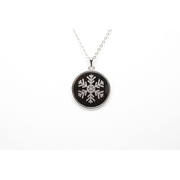 Snowflake Necklace with Aluminum Rolo Chain