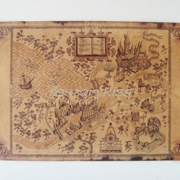 Retro Harry Potter Magic Old World Map Brown Paper Wizarding Poster 53x34cm [8081670663]