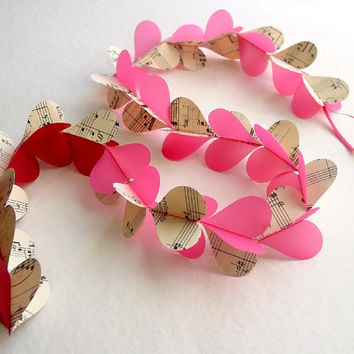 3D Garland-Music Sheets with Pink & Red Hearts -Paper Mobile-Kids-Baby-Nursery Decor-Crib Mobile-Wedding-Valentine-XOXO