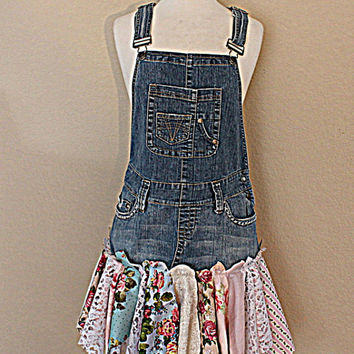 Eco Overall Dress | Women's Clothing | Upcycled Denim | Mori Girl | Tattered Woodland Fairy Clothes