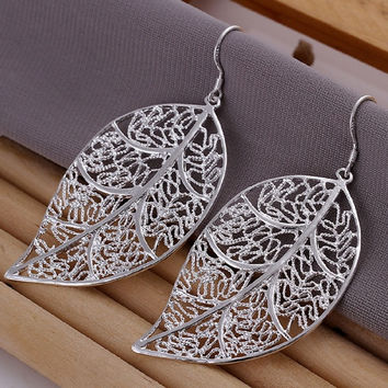 Elegant Fashion Jewelry 925 Silver Plated Stud Dangle Earings Eardrop Skeleton Big Leaf = 1958227780
