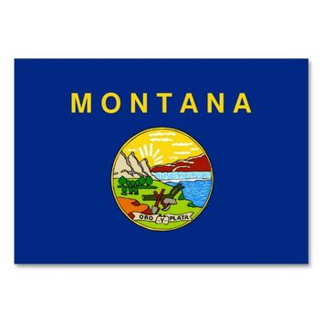 Patriotic table card with Flag of Montana