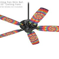 Tie Dye Swirl 102 - Ceiling Fan Skin Kit fits most 52 inch fans (FAN and BLADES SOLD SEPARATELY)