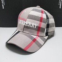 BURBERRY Summer Women Men Classic Plaid Embroidery Hat Cap Grey