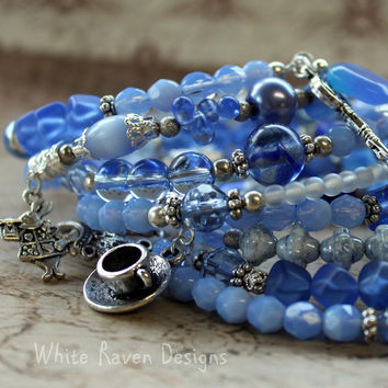Memory Wire cuff Wrapped Charm Bracelet - Alice in wonderland theme - Sapphire Blues - 7 rounds LARGE - Handcrafted in Australia