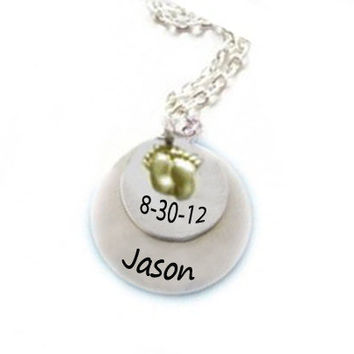 Baby Charm Necklace Personalized Hand Stamped Pendant Child Birthday chain