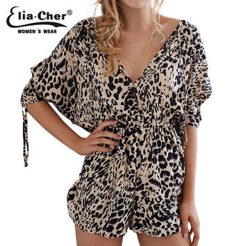 Print Leopard Jumpsuits Half Sleeve Elia Cher Brand 2017 Plus Size Casual Women Clothing Chic Fashion Regular Playsuit Rompers