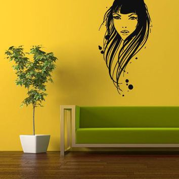 Wall Vinyl Decal Sticker Bedroom Wall Decal Decal Portrait Girl Face Hairs  z339