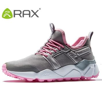 RAX Women's Hiking Shoes Winter Suede Leather Cushioning Walking Shoes Antiskid Rubber Outsole Water-Resistent Classic Style