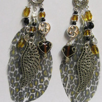"""Parrot Feather  Earrings """" Handcrafted  """"One of a Kind"""" Grand Opening Sale"""""""