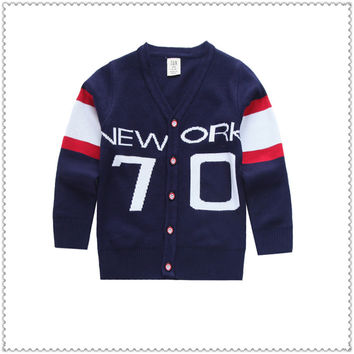 2017 dark blue cotton knitted sweater sweater cardigan children Autumn winter outfit new child v-neck 70 words leisure coat