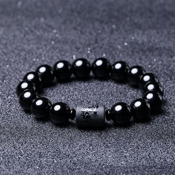 Black Obsidian Natural Stone Couple Bracelets For Men And Women Dragon Phoenix Totem Engrave Crystal Jewelry