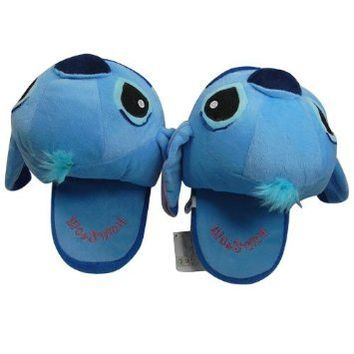 Funny Blue Lilo Stitch Plush Soft Slipper Stuffed Cartoon Collect for Disney Toy
