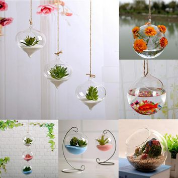 Hot Home Garden Clear Glass Flower Hanging Vase Planter Terrarium Container