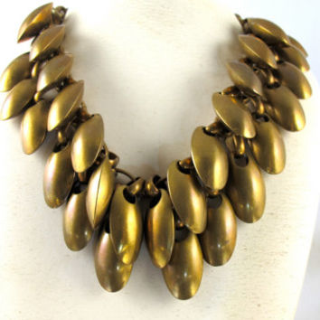 Bronze Pods Bib Necklace, Huge Double Row Seed Pods Statement Dangle Necklace Collar, Vintage Designer Mid Century Modern Statement Jewelry