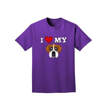 I Heart My - Cute Boxer Dog Adult Dark T-Shirt by TooLoud