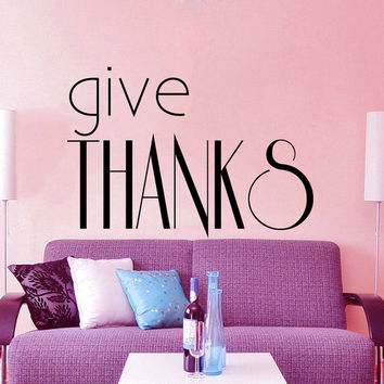 Give Thanks Wall Decal Quote Thanksgiving Vinyl Stikers Letters Kitchen Art Mural Bedroom Decor Home Interior Design Living Room Decals KY52