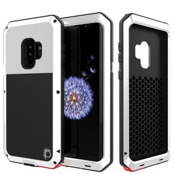 Galaxy S9 Plus Metal Case, Heavy Duty Military Grade Rugged Armor Cover [White]