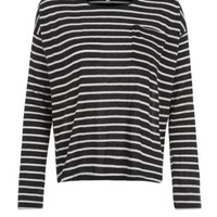 Black Stripe Long Sleeve Pocket Slouchy Jumper