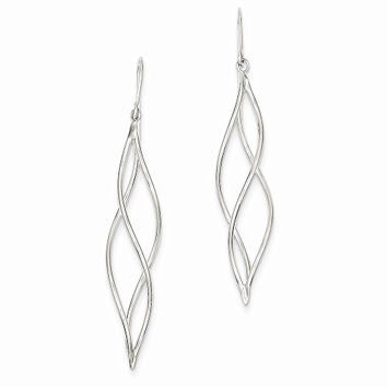 14k White Gold Polished Long Twisted Dangle Earrings, Best Quality Free Gift Box Satisfaction Guaranteed