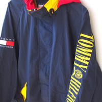 TOMMY Hilfiger Big Logo Embroidery Vintage 90's Hip Hop Snowbeach Blue Hoodie Windbreaker Jacket Coat L