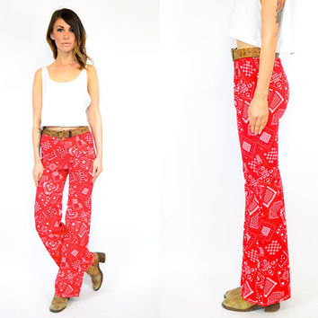 red GYPSY bohemian biker BANDANA lightweight norteño BELLBOTTOM trousers, extra small-small