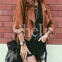 Brown Long Sleeve Lapel Jacket -SheIn(Sheinside)