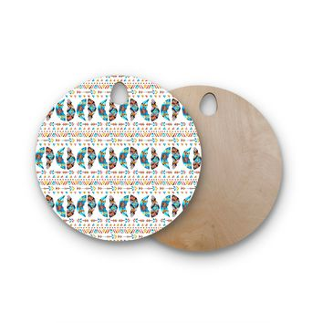 """Pom Graphic Design """"Arrows And Feathers Tribe"""" Teal Gold Pattern Tribal Watercolor Illustration Round Wooden Cutting Board"""