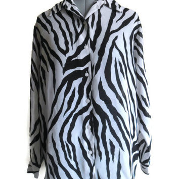 Vintage Diane Von Furstenberg Oversized Zebra Print Shirt Button Up XS Sheer 80s 90s