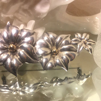 Charles Krypell Art Nouveau .925 Sterling Descending Flowers with 14k centers