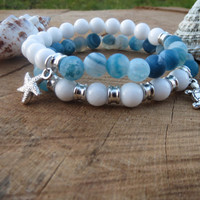 Sea Bracelet, Ocean Blue and white Turtle Starfish Bracelet, Gemstones, Sea Themed Bracelet, White Jade and Fire Frost Agate Bracelet